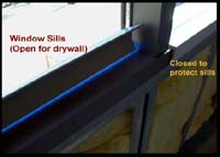 Intuit building with edge protectors on window sills