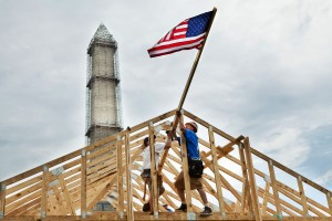 Home construction with US flag
